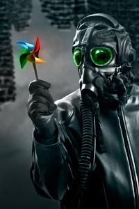Mask Guy With Paper Fan 4k