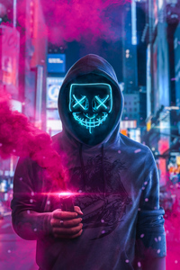 1080x1920 Mask Guy With Smoke Bomb In Hand 4k