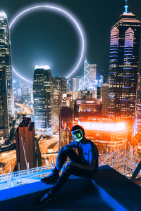 Mask Man Sitting On Top Of Building