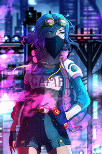 1242x2688 Mask Neon Girl City 4k