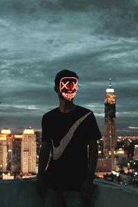 2160x3840 Mask Neon Guy 4k