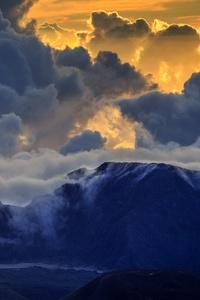 750x1334 Maui Mountain Volcano Island Clouds 5k