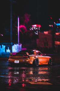 Mazda Rx7 City Night Lights 4k