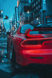 Mazda Rx7 Rain 4k