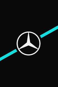 1125x2436 Mercedes Logo Dark Minimalism 5k