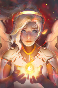 720x1280 Mercy Angel Overwatch Fantasy