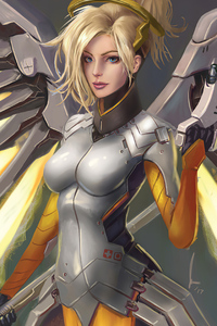 480x800 Mercy Overwatch 2 Artwork 4k