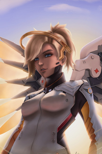 640x1136 Mercy Overwatch 4k Artwork