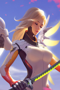 320x480 Mercy Overwatch With Genji Sword 4k