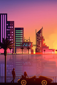 640x960 Miami Sunset Artistic 4k