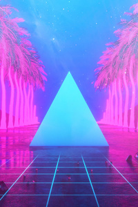 Miami Trees Triangle Neon Artwork 4k