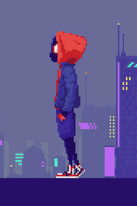 800x1280 Miles Morales Pixel Art
