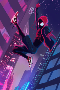 1080x2160 Miles Morales Spiderverse Swing
