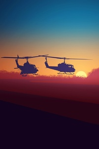 Military Helicopters Minimalsm