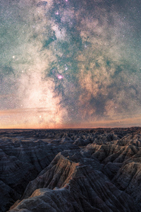2160x3840 Milky Way Above Badlands National 5k