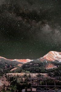 1080x2160 Milky Way Above Red Mountains 8k