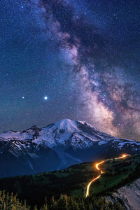 360x640 Milky Way Over Mountains 4k
