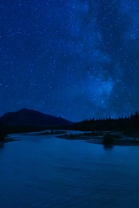 1080x2160 Milky Way Over Perfect Mountain Lake