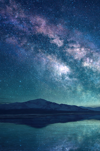 750x1334 Milky Way Sky Blue Lake 5k