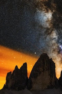 360x640 Milky Ways Setting Behind The Tre Cime Di Lavaredo 8k