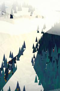 Minimal Forest Winter Snow Trees Mountains 5k
