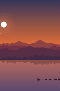 640x1136 Minimal Lake Sunset