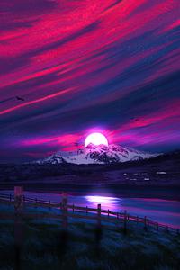 750x1334 Minimal Landscape Sunrise 4k