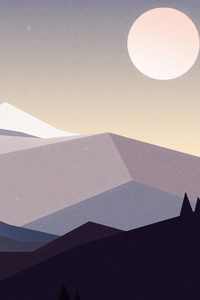 Minimal Mountains Landscape 4k