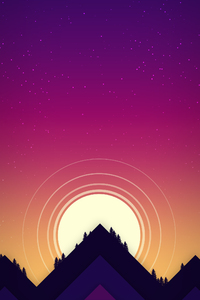 320x480 Minimal Sun Mountains 5k