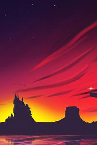 480x854 Minimal Sunset Landscape 4k