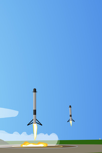 Minimalist Falcon Heavy Landing Artwork