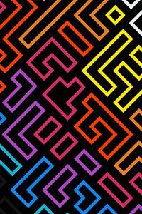 240x400 Minimalistic Shapes Dark Neon 4k