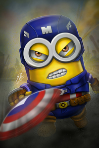 320x568 Minion As Captain America 4k