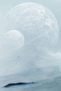 320x480 Mist Space Planets