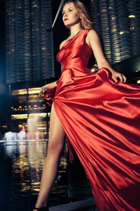 1280x2120 Model Red Dress Outdoors Depth Of Field 5k