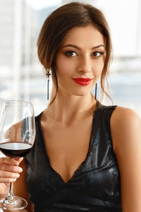 Model With Wine In Hand