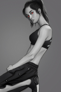 1080x2160 Monochrome Gorgeous Girl