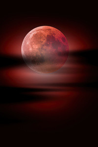 320x480 Moon Clouds Night Sky Red Moon 5k