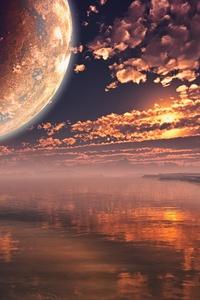 320x480 Moon Clouds Sunset Landscape 5k