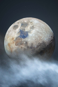 1080x2280 Moon In Clouds 4k