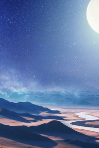 750x1334 Moon Night Desert 4k
