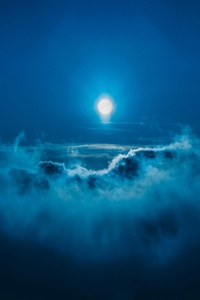 Moon Night Landscape Clouds 5k