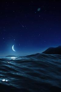 Moon Night Ocean 4k