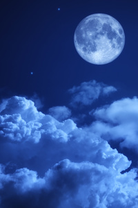 Moon Night Sky Clouds 5k