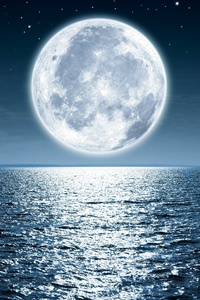 1125x2436 Moon Sea Night 5k