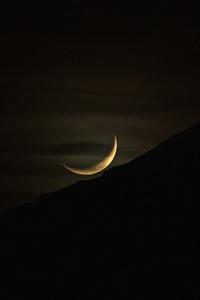 1440x2560 Moon Set Mountain Silhouette Dark Evening 5k