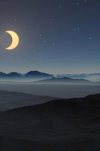 540x960 Moon Stars Mountains 5k