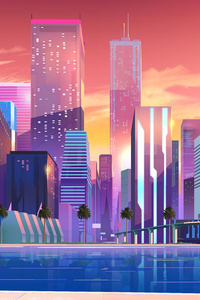 Moonbeam City Buildings Minimalist 8k