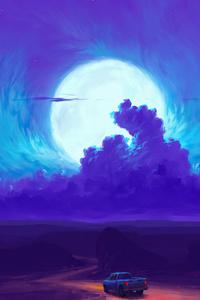 750x1334 Moonrise Minimal 4k