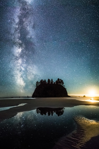 1440x2960 Moonset Milky Way Over Second Beach
